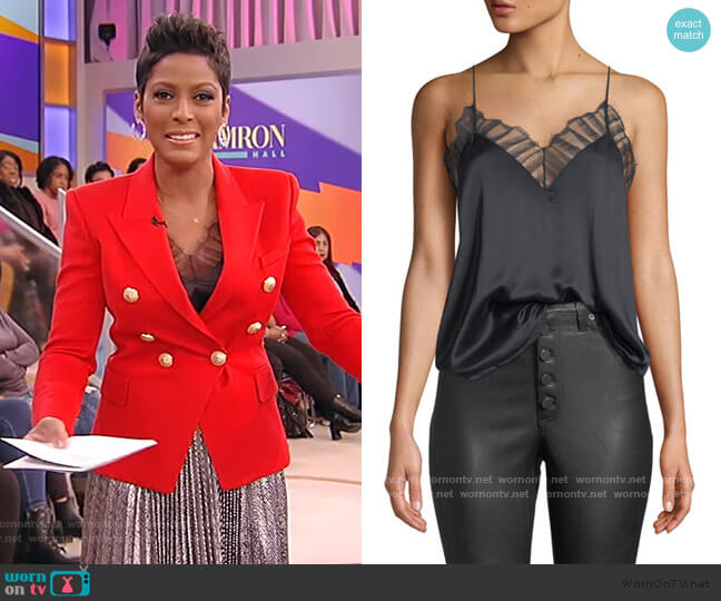 Berwyn Silk Cami with Lace Trim by IRO worn by Tamron Hall  on Tamron Hall Show