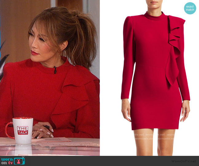Deteo Long-Sleeve Ruffle Mini Dress by IRO worn by Carrie Inaba  on The Talk