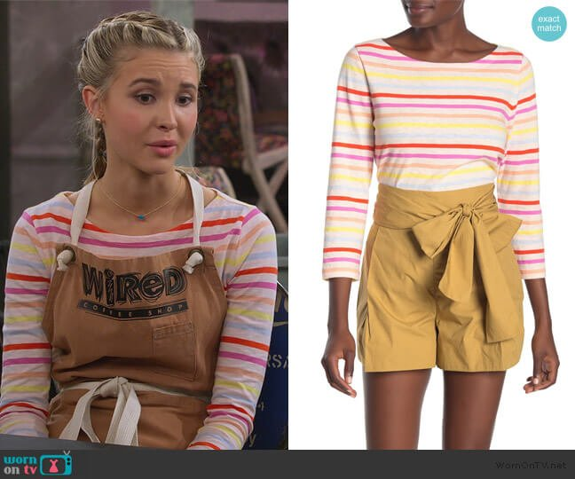 Multi-Striped Boat Neck 3/4 Sleeve Top by J. Crew worn by Katie Cooper (Isabel May) on Alexa & Katie