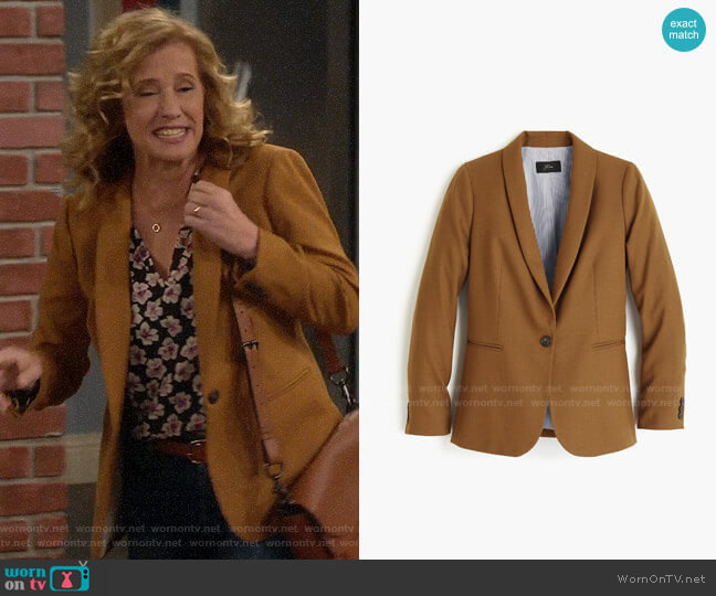 J. Crew Parke Blazer in Hthr Camel by J. Crew worn by Vanessa Baxter (Nancy Travis) on Last Man Standing
