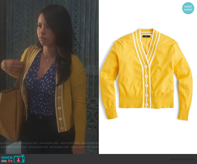 Tipped Cotton Blend V-Neck Cardigan by J. Crew worn by Mariana Foster (Cierra Ramirez) on Good Trouble