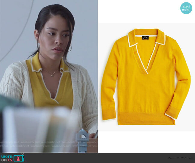 Tipped Polo Sweater by J. Crew worn by Mariana Foster (Cierra Ramirez) on Good Trouble