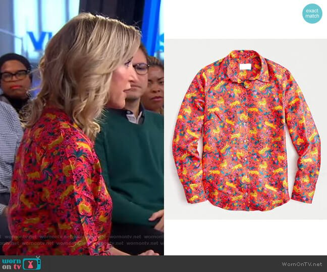 Silk Button-Up Shirt by J.Crew worn by Lara Spencer  on Good Morning America