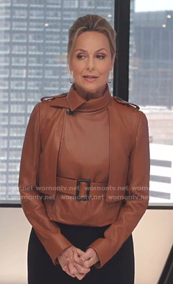 Jacqueline's brown belted leather jacket on The Bold Type