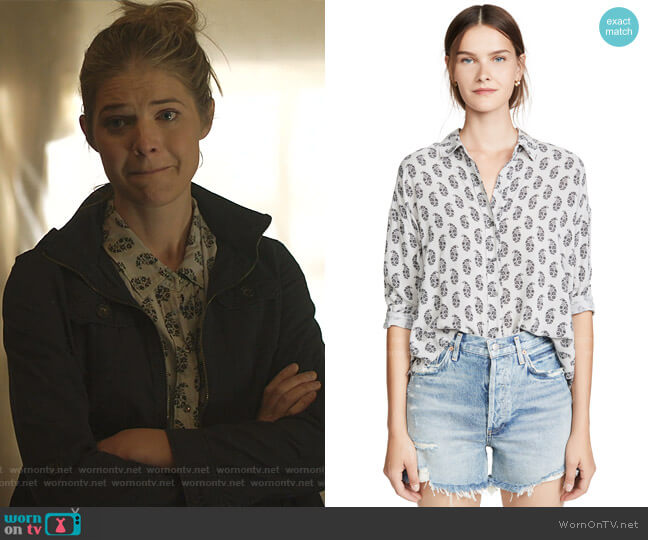 Paisley Print Boxy Shirt by James Perse worn by Tami Tamietti (Kate Miner) on Shameless