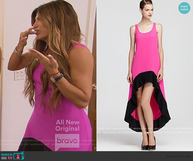Colorblock Mulino Dress by Jay Godfrey worn by Dolores Catania  on The Real Housewives of New Jersey