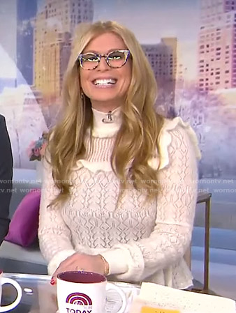Jill's white pointelle ruffle sweater on Today