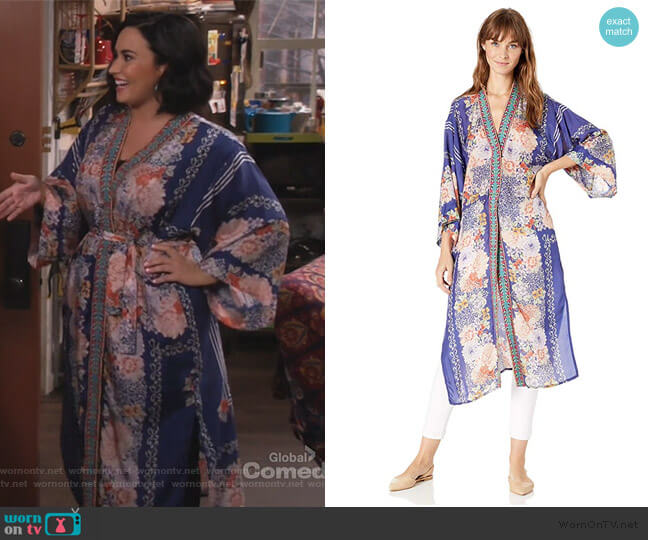 Blati Silk Floral-Print Kimono by Johnny Was worn by Demi Lovato on Will and Grace