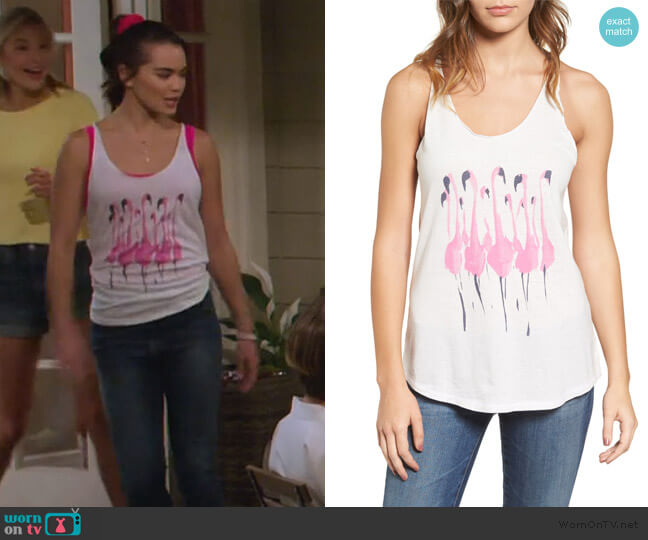 Donald Robertson Flamingo Tank by Junk Food worn by Alexa Mendoza (Paris Berelc) on Alexa & Katie
