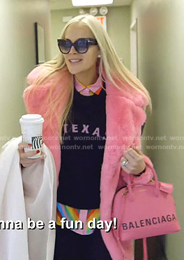 Kameron's Texas sweater and pink coat on The Real Housewives of Dallas
