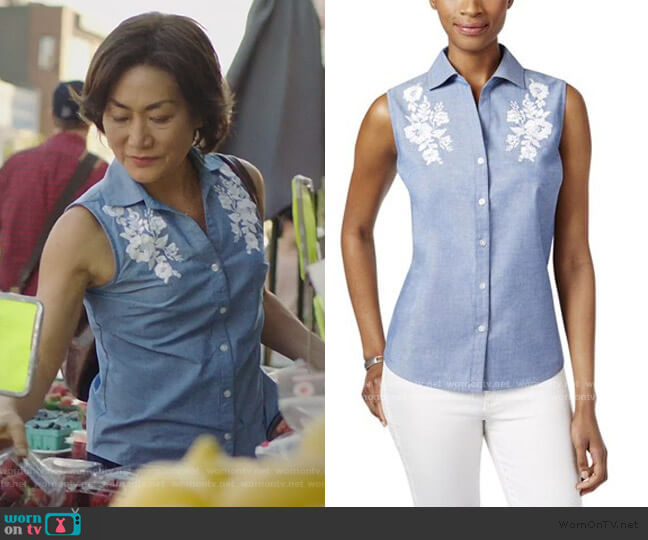 Embroidered Sleeveless Tank Top Petites Chambray by Karen Scott worn by Mrs Kim (Jean Yoon) on Kims Convenience