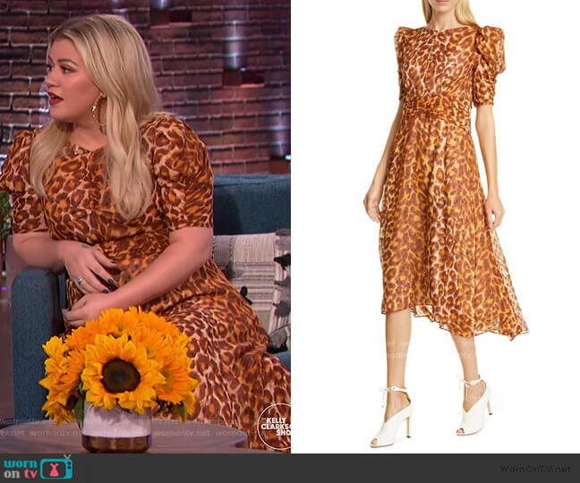 Panthera Clip Dot Puff-sleeve Dress by Kate Spade worn by Kelly Clarkson  on The Kelly Clarkson Show