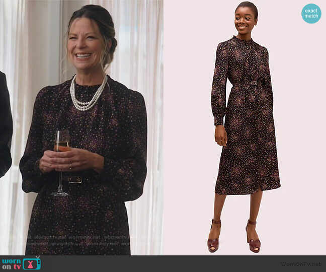 Disco Dots Ruffle Shirtdress by Kate Spade worn by Mo Collins on Single Parents