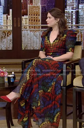 Katie Lowes's rainbow print maxi dress on Live with Kelly and Ryan