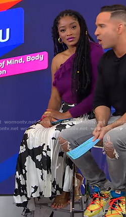 Keke's purple one-shoulder sweater and printed skirt on GMA Strahan Sara And Keke