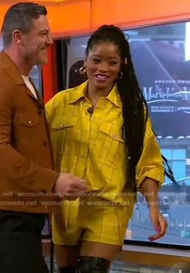 Keke's yellow check shirt and shorts on GMA Strahan Sara And Keke