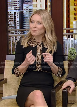 Kelly's black dress with leopard trim on Live with Kelly and Ryan