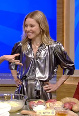 Kelly's silver metallic shirtdress on Live with Kelly and Ryan