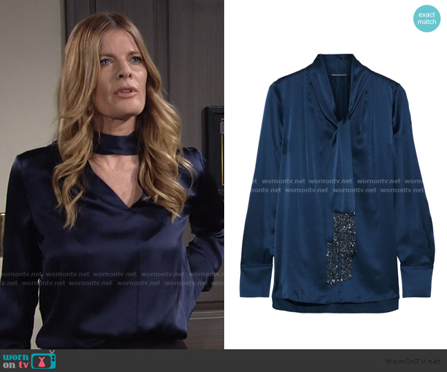 Elie Tahari Kendal Beaded Tieneck Silk Blouse worn by Phyllis Summers (Michelle Stafford) on The Young & the Restless
