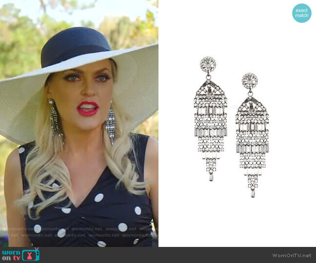 Gunmetal-Plated & Crystal Banquette Waterfall Post Earrings by Kenneth Jay Lane worn by Alexis Carrington (Elaine Hendrix) on Dynasty