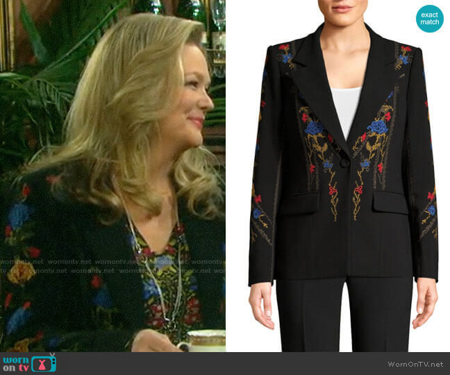 Kobi Halperin Carolyn Floral Embroidered Jacket worn by Anna DiMera (Leann Hunley) on Days of our Lives