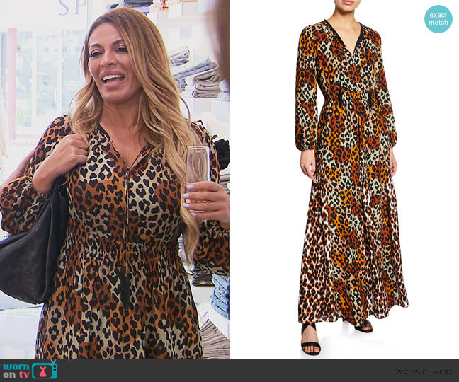 Kiana Leopard Maxi Dress by Kobi Halperin worn by Dolores Catania  on The Real Housewives of New Jersey