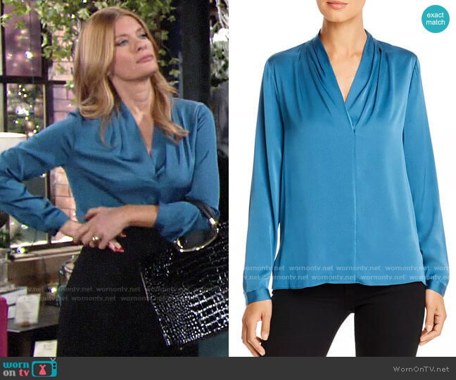 Kobi Halperin Nellie Silk-Blend Pleated Blouse worn by Phyllis Summers (Michelle Stafford) on The Young & the Restless
