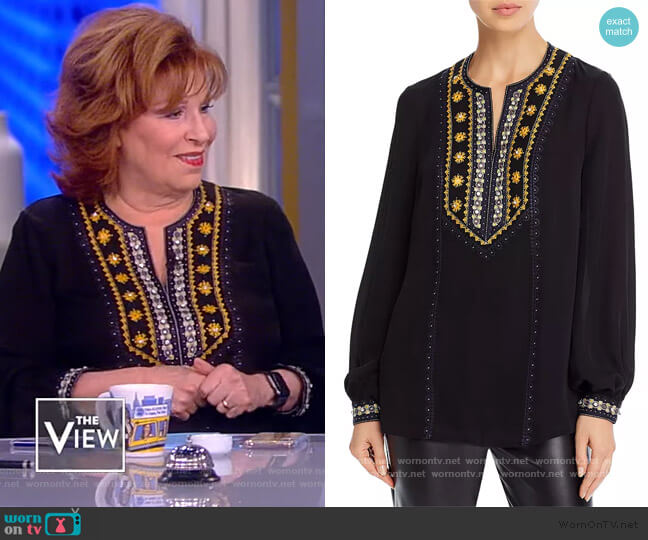 Sandi Embellished Silk Blouse by Kobi Halperin worn by Joy Behar  on The View
