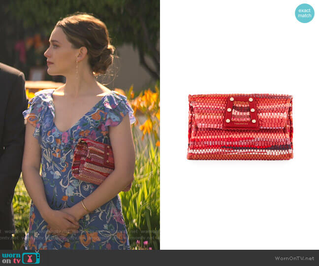 3D Woven Clutch Bag by Kooreloo worn by Love Quinn (Victoria Pedretti) on You
