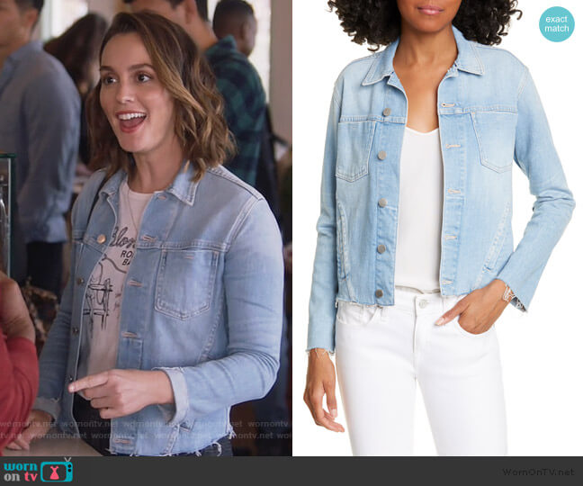 Janelle Slim Jacket by L'Agence worn by Angie (Leighton Meester) on Single Parents