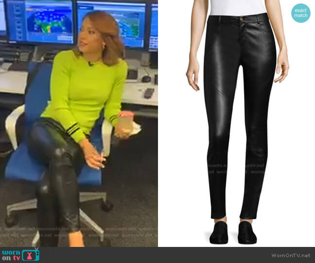 Nappa Leather Mercer Pants by Lafayette 148 New York worn by Ginger Zee  on Good Morning America