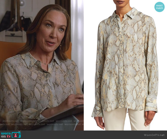 Scottie Python Blouse by Lafayette 148 New York worn by Elizabeth Marvel on Manifest