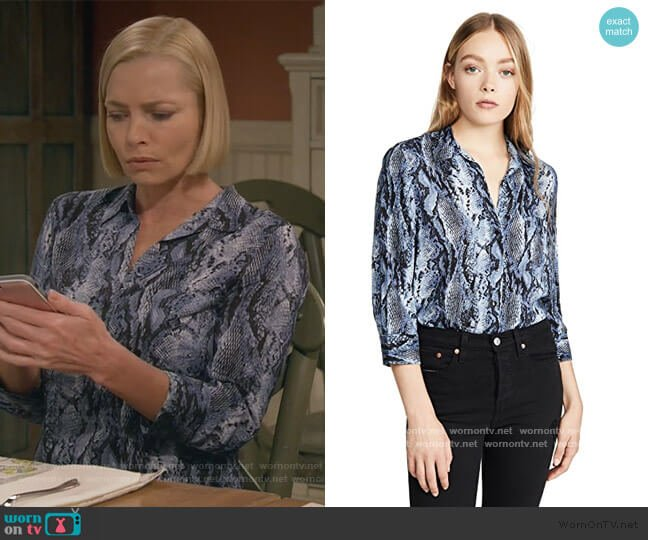 L'Agence Ryan Blouse in Myst Salvadora worn by Jill Kendall (Jaime Pressly) on Mom