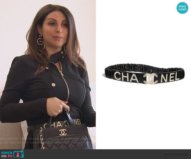 Lambskin Crystal Logo Belt by Chanel worn by Jennifer Aydin  on The Real Housewives of New Jersey