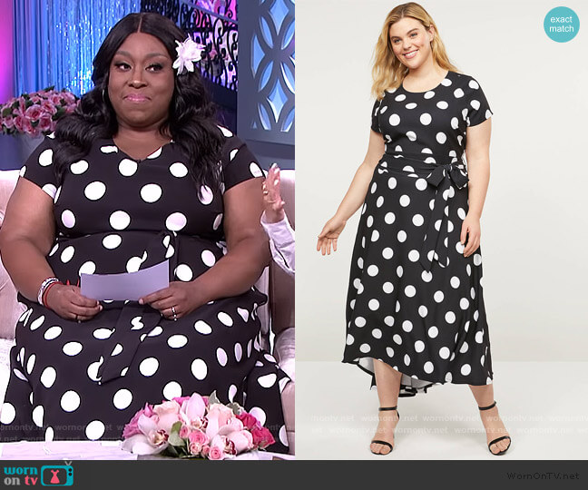 Lena High-Low Belted Maxi Dress by Lane Bryant worn by Loni Love  on The Real