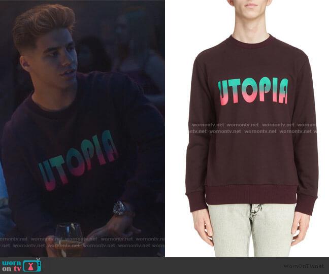Utopia Graphic Crewneck Sweatshirt by Lanvin worn by Vivek Shah (Jordan Buhat) on Grown-ish