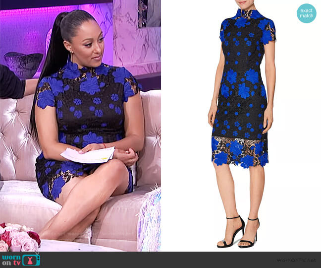 Lace Sheath Dress by Laundry by Shelli Segal worn by Tamera Mowry  on The Real