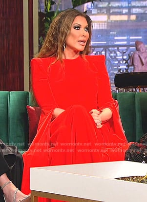 LeeAnne's red slit sleeve gown on The Real Housewives of Dallas
