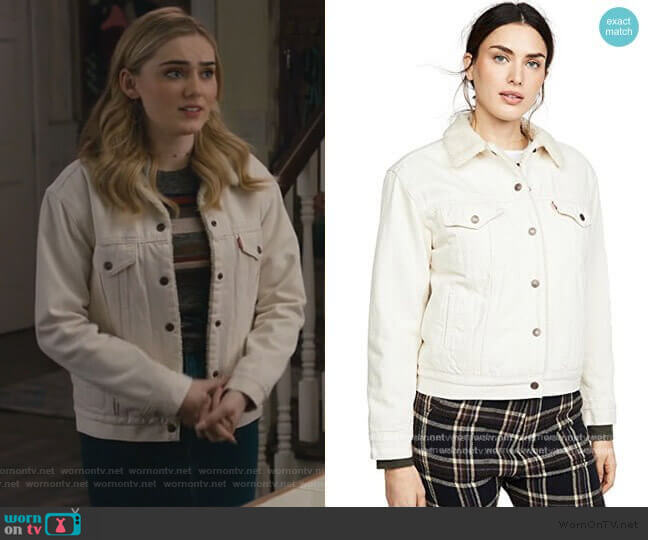 Ex-Boyfriend Sherpa Trucker Jacket by Levis worn by Taylor Otto (Meg Donnelly) on American Housewife