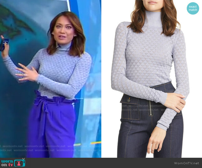 Lilette Metallic Pointelle Turtleneck by Cinq a Sept worn by Ginger Zee  on Good Morning America
