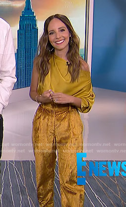 Lilliana's yellow asymmetric top and corduroy pants on E! News