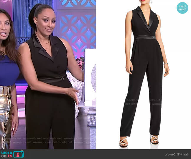 Delilah Tuxedo Jumpsuit by Lini worn by Tamera Mowry  on The Real