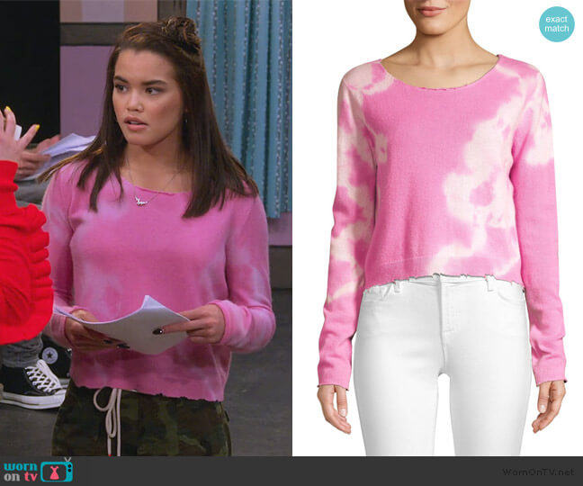 Shane Tie Dye Distressed Wool & Cashmere Sweater by Love Shack Fancy worn by Alexa Mendoza (Paris Berelc) on Alexa & Katie