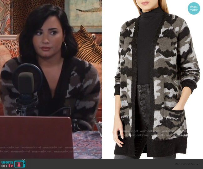 Camo Cardigan Sweater by Lucky Brand worn by Demi Lovato on Will and Grace