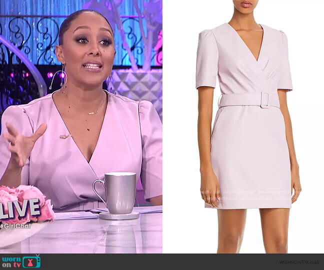 Belted Faux Leather Sheath Dress by Lucy Paris worn by Tamera Mowry  on The Real