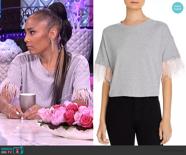 Faux-Feather Trim Tee by Lucy Paris worn by Amanda Seales  on The Real