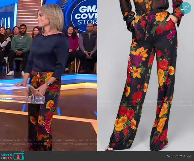 Floral Palazzo Pants by Guess by Marciano worn by Amy Robach  on Good Morning America