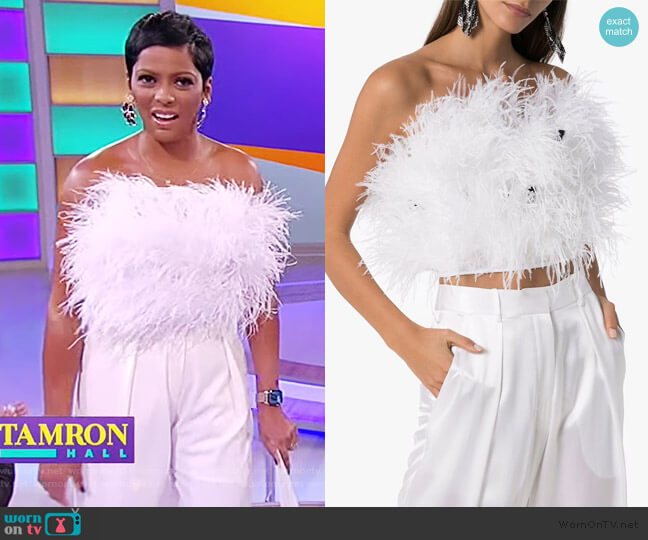 Cropped Feather Embellished Top and Pants by Michael Lo Sordo worn by Tamron Hall  on Tamron Hall Show