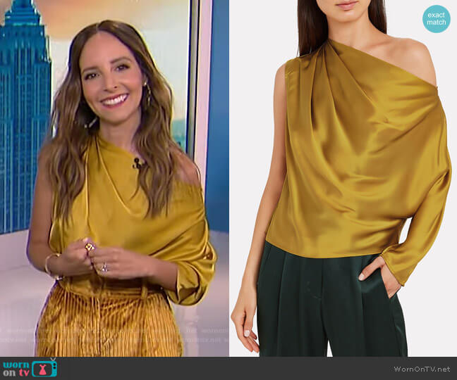 Charmeuse Draped One-Shoulder Top by Michelle Mason worn by Lilliana Vazquez  on E! News