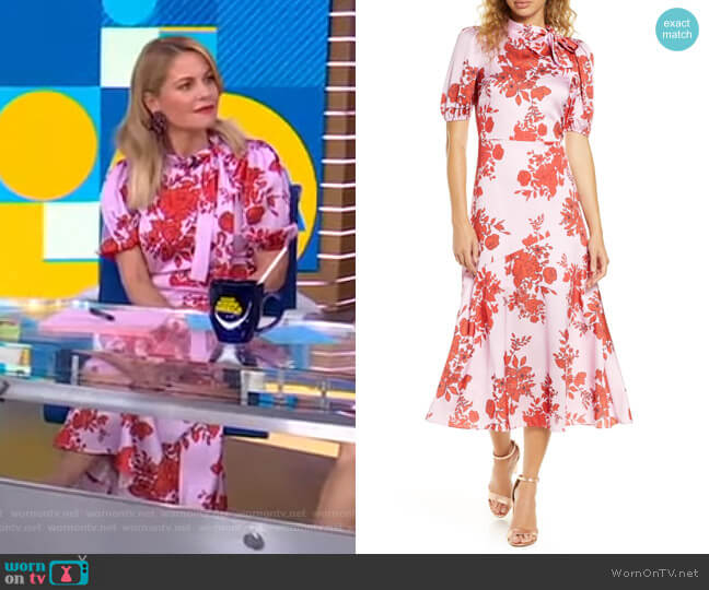 Floral Satin Dress by ML Monique Lhuillier worn by Candace Cameron Bure on GMA